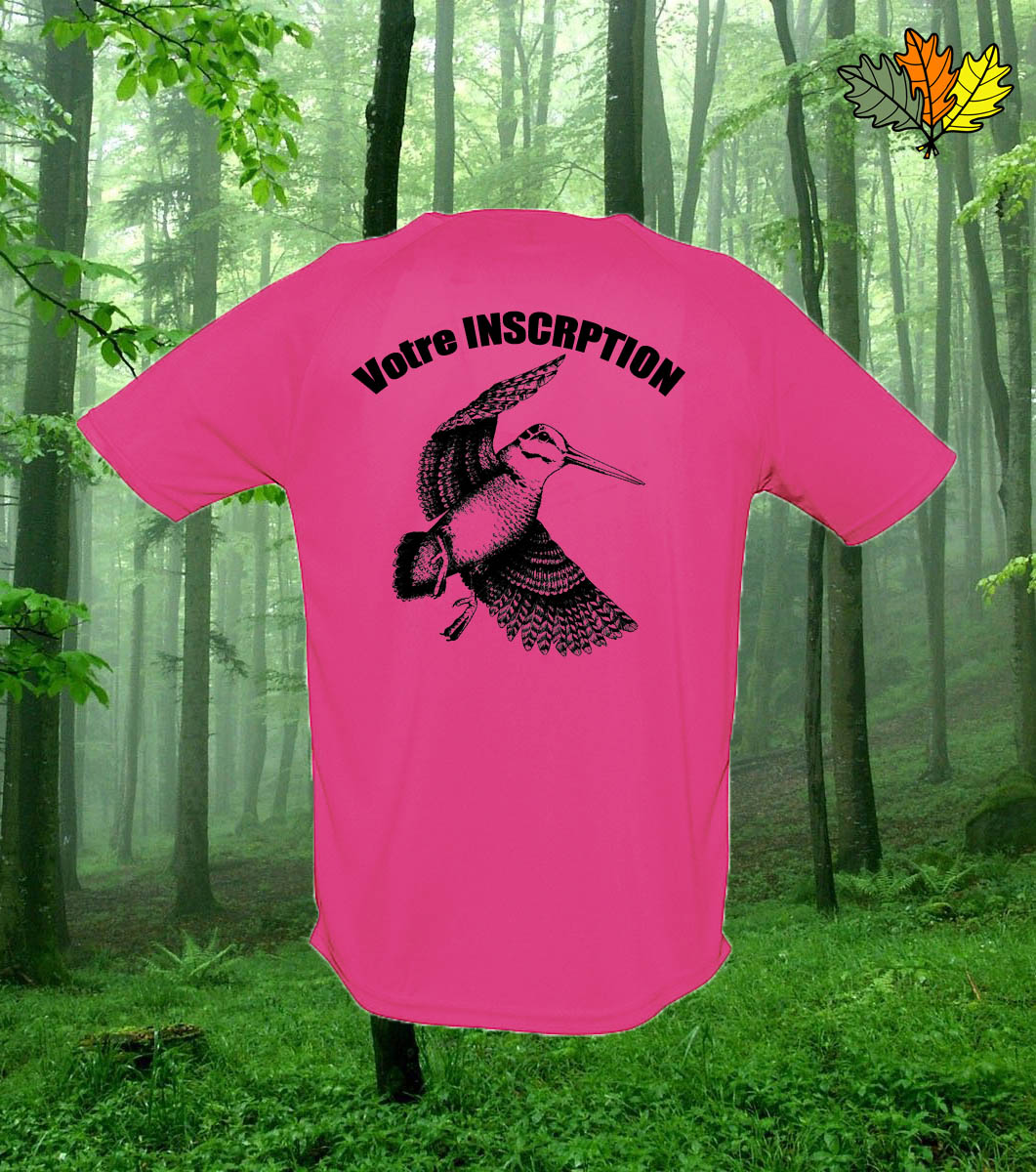 T-Shirt polyester fluo de chasse femme