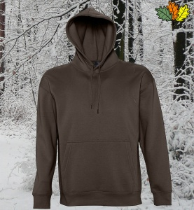 sweat-capuche-marron-chasse