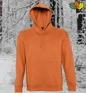 sweat-capuche-orange-chasse