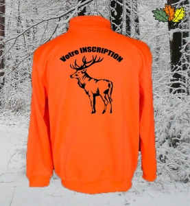 sweat-fluo-haute-visibilite-col-zip-chasse-chasseur-cerf