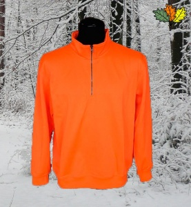 sweat-fluo-haute-visibilite-col-zip-chasse-chasseur-face